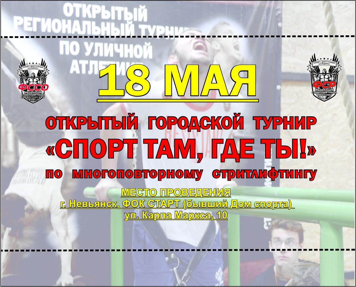 18 мая 2019 год – Городской турнир «Спорт там, где ты!» по многоповторному стритлифтингу, г. Невьянск, Свердловская область