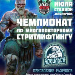 20 июля 2019 – Открытый Чемпионат г. Норильска по многоповторному стритлифтингу , г. Норильск (М)
